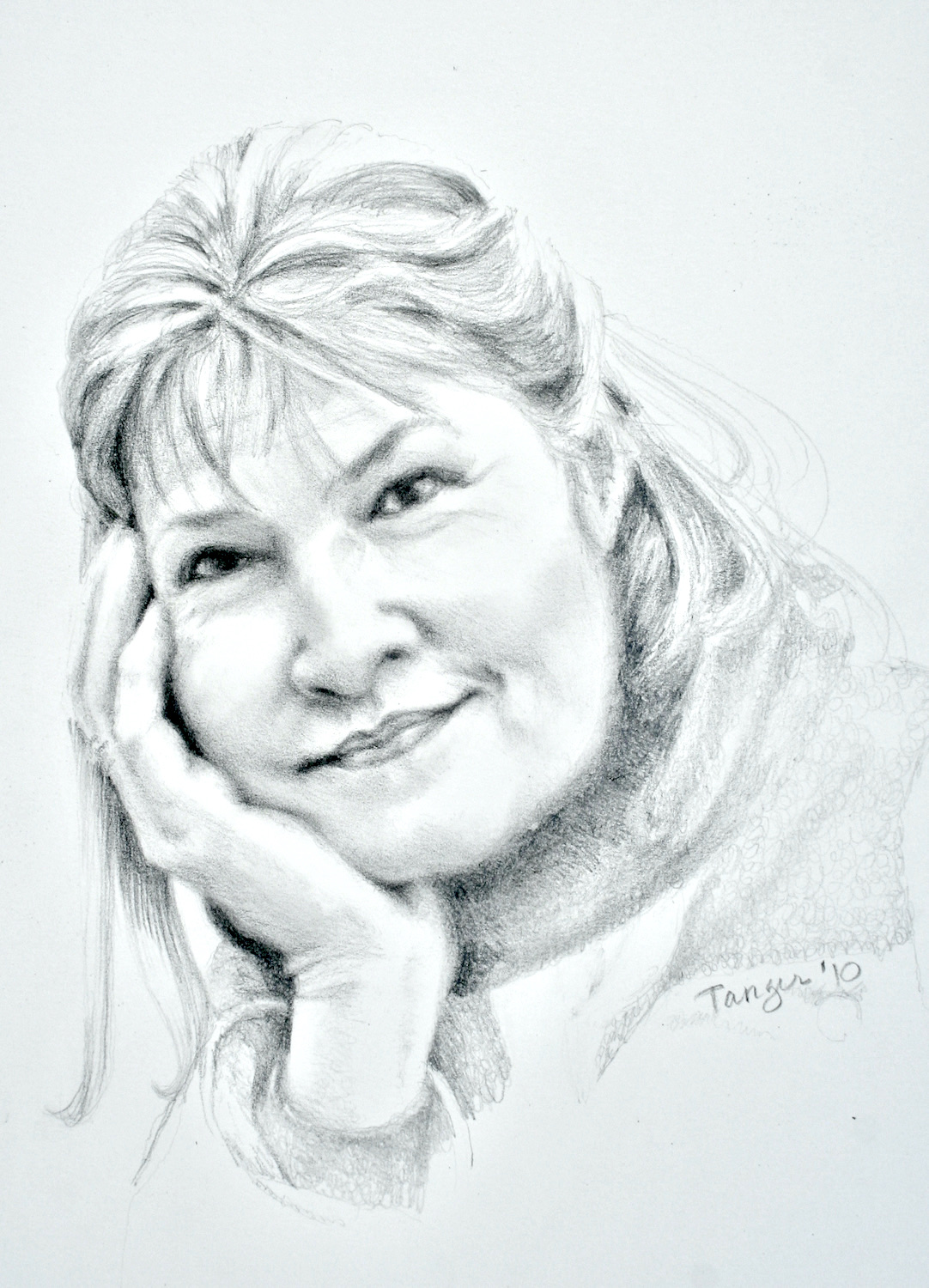 pencil sketch of woman with chin in her hand