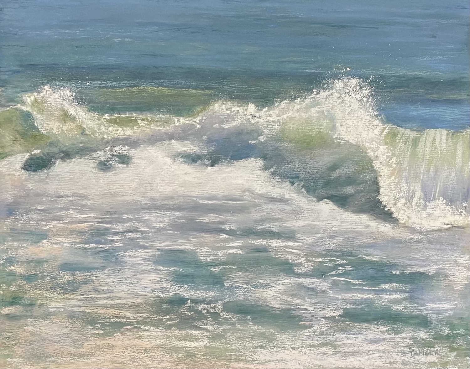 Pastel painting of breaking waves and backwash
