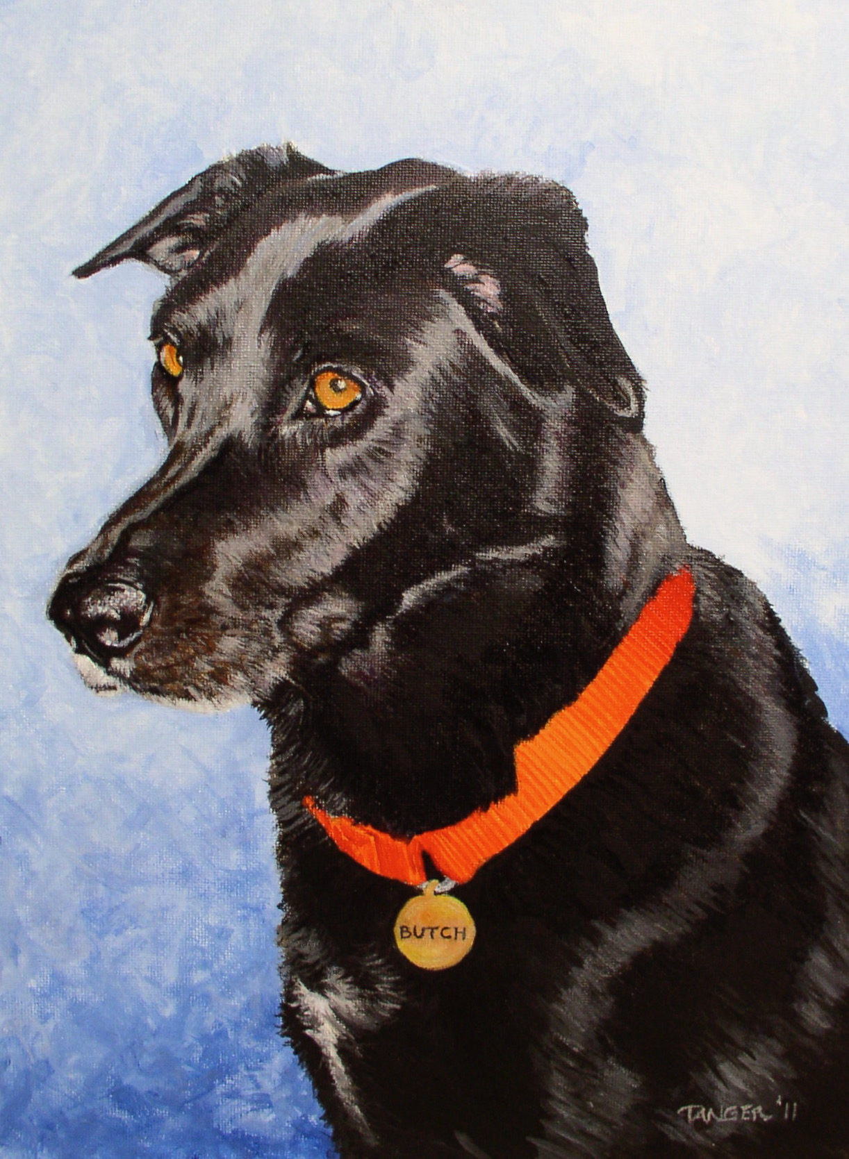acrylic painting of black labrador with red collar