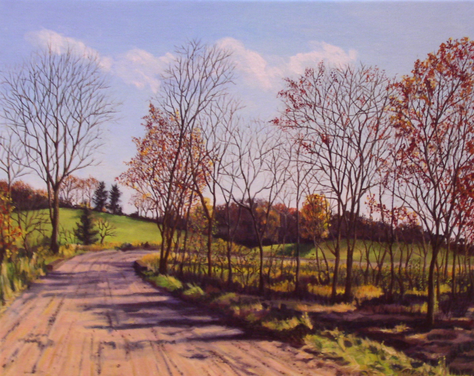 oil painting of dirt road in the fall with bare trees leading around a bend