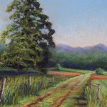 pastel of dirt roadway through green farm fields with post and wire fence