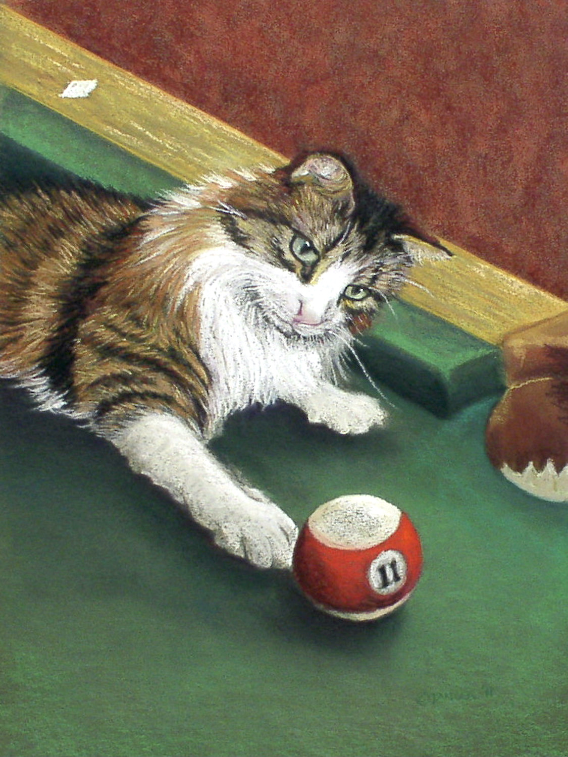 portrait in pastel of Norwegian Forest cat on pool table