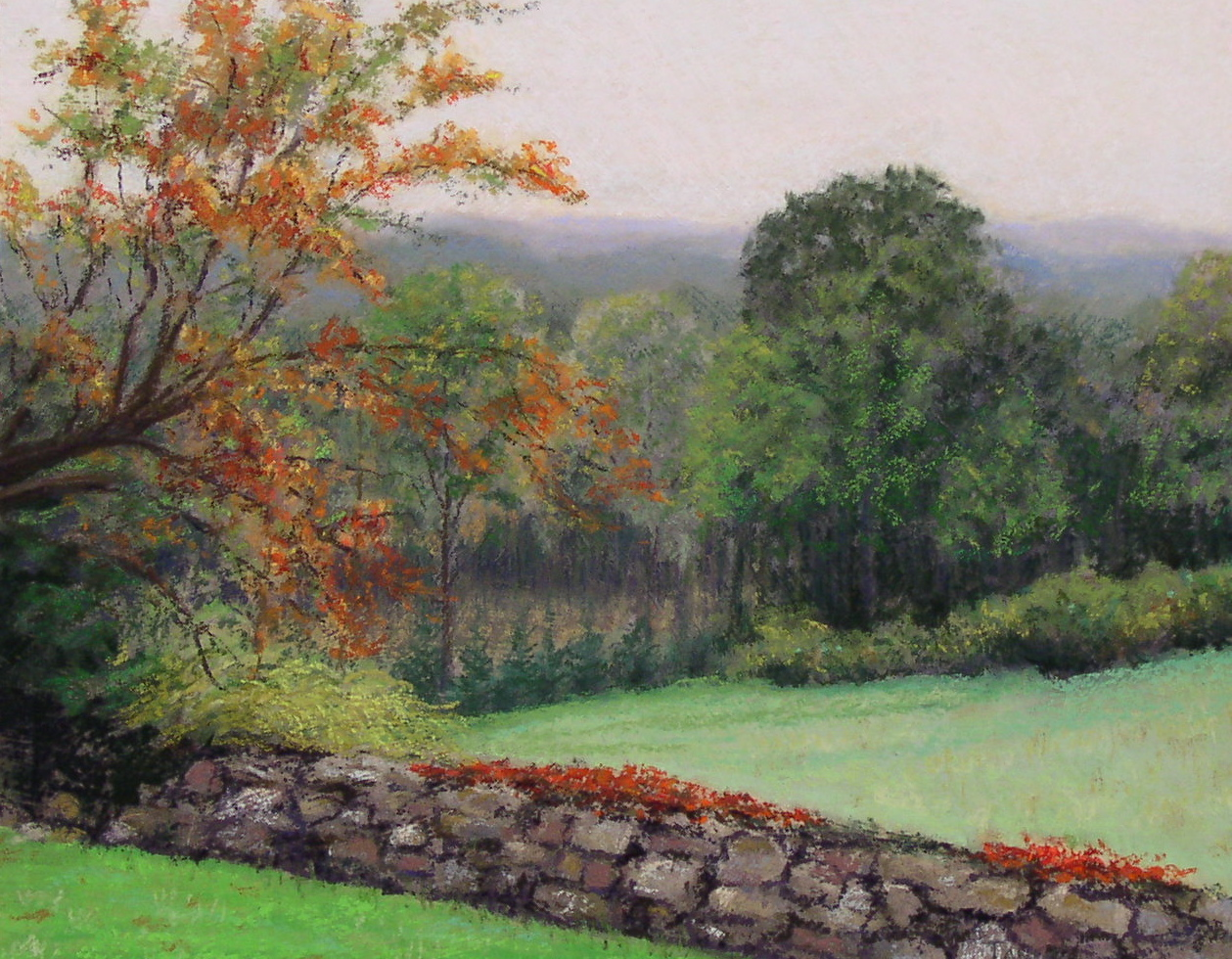 pastel of green fields separated by ivy covered stone wall