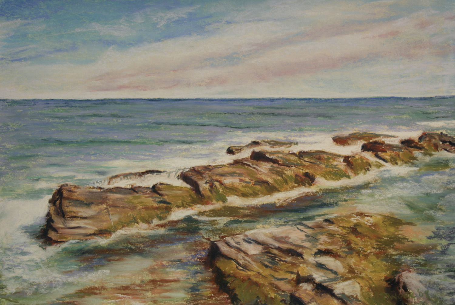11 x 16 pastel of a tidal pool off the cliff walk in Newport for sale: $175