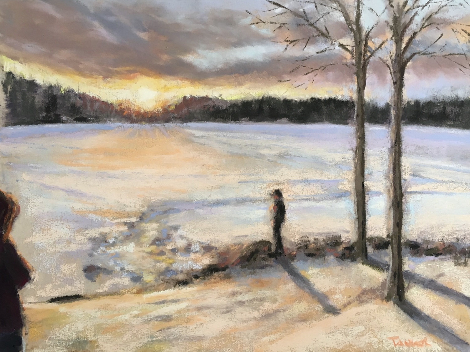 pastel of snow covered lake at sunset with figure