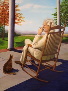 oil painting of old white haired man with cigar in rocker with cat at feet