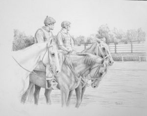 pencil drawing of two outriders and three horse at racetrack