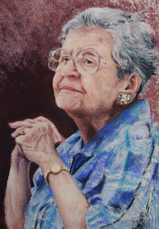 pastel of old woman wringing hands