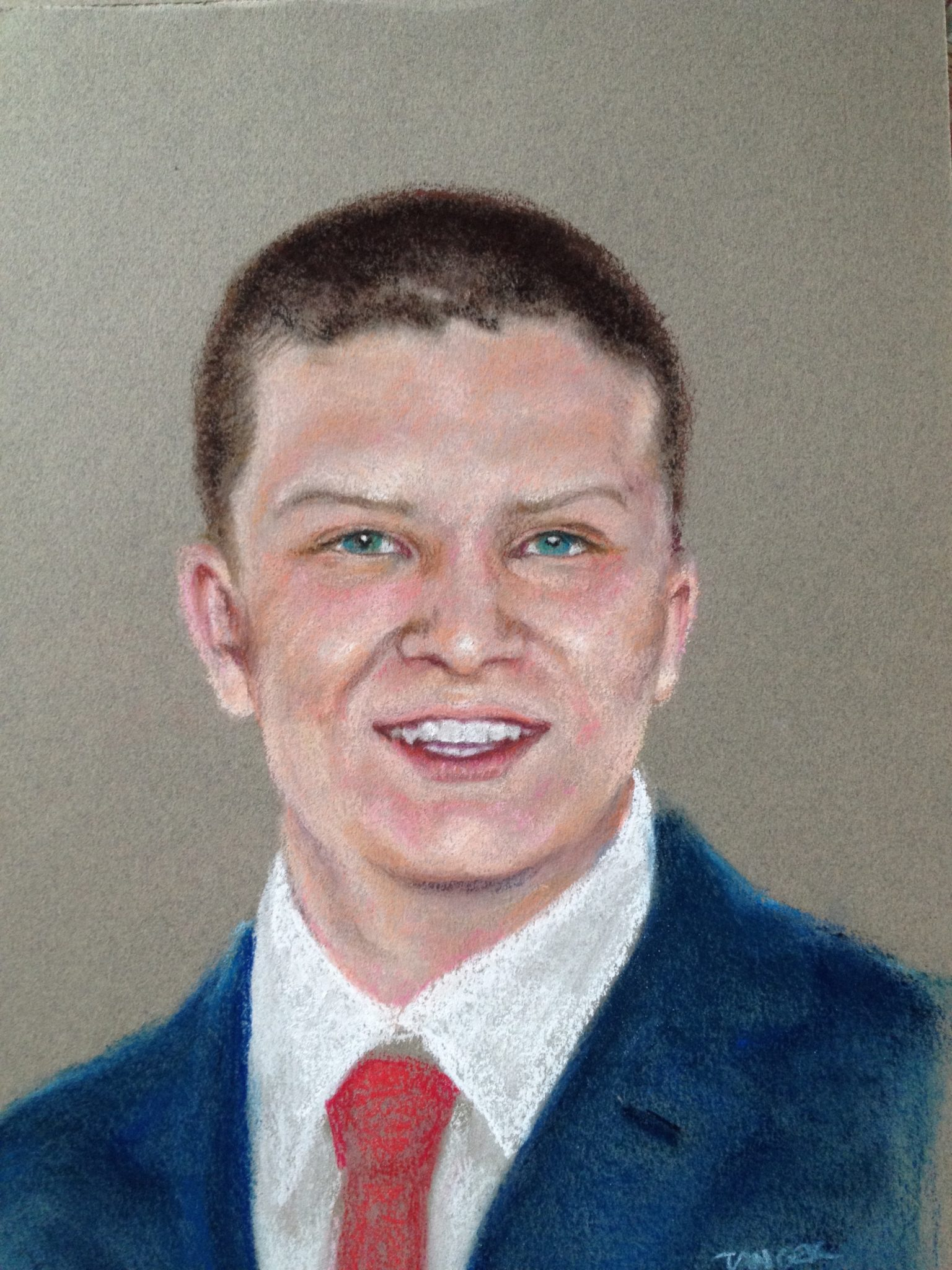 pastel of young man in tie