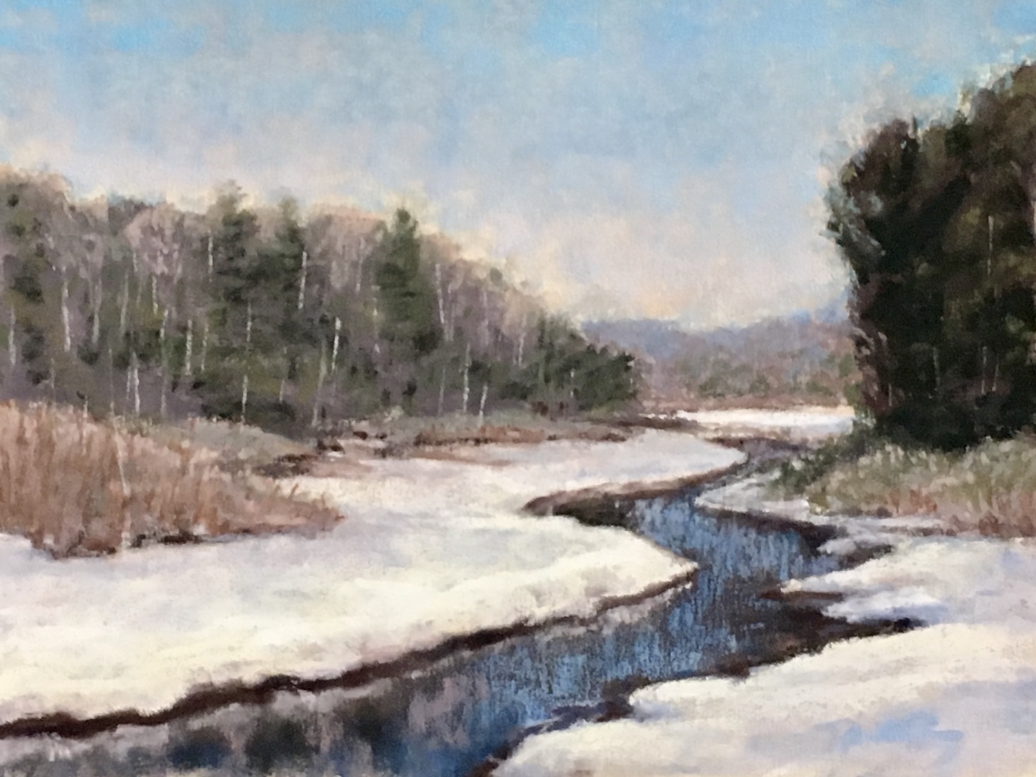 pastel of river with snow on the river banks and trees