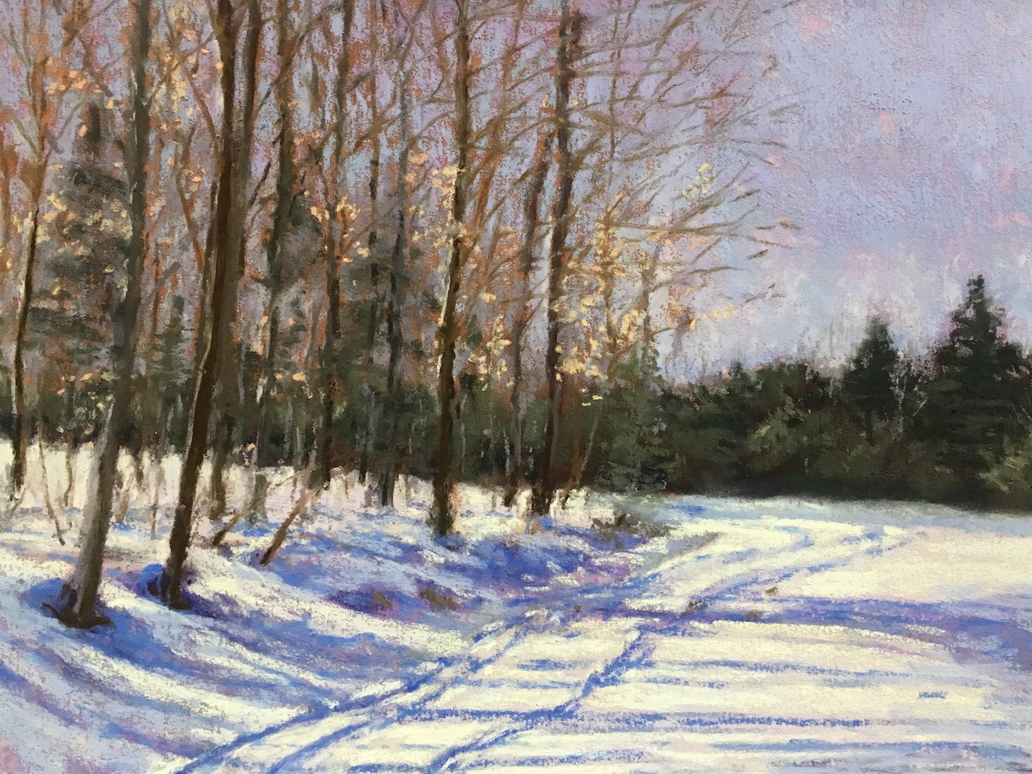 pastel of cross country ski tracks in the snow at the edge of some trees