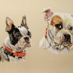 pastel of black and white Boston terrier and white and tan Boxer together