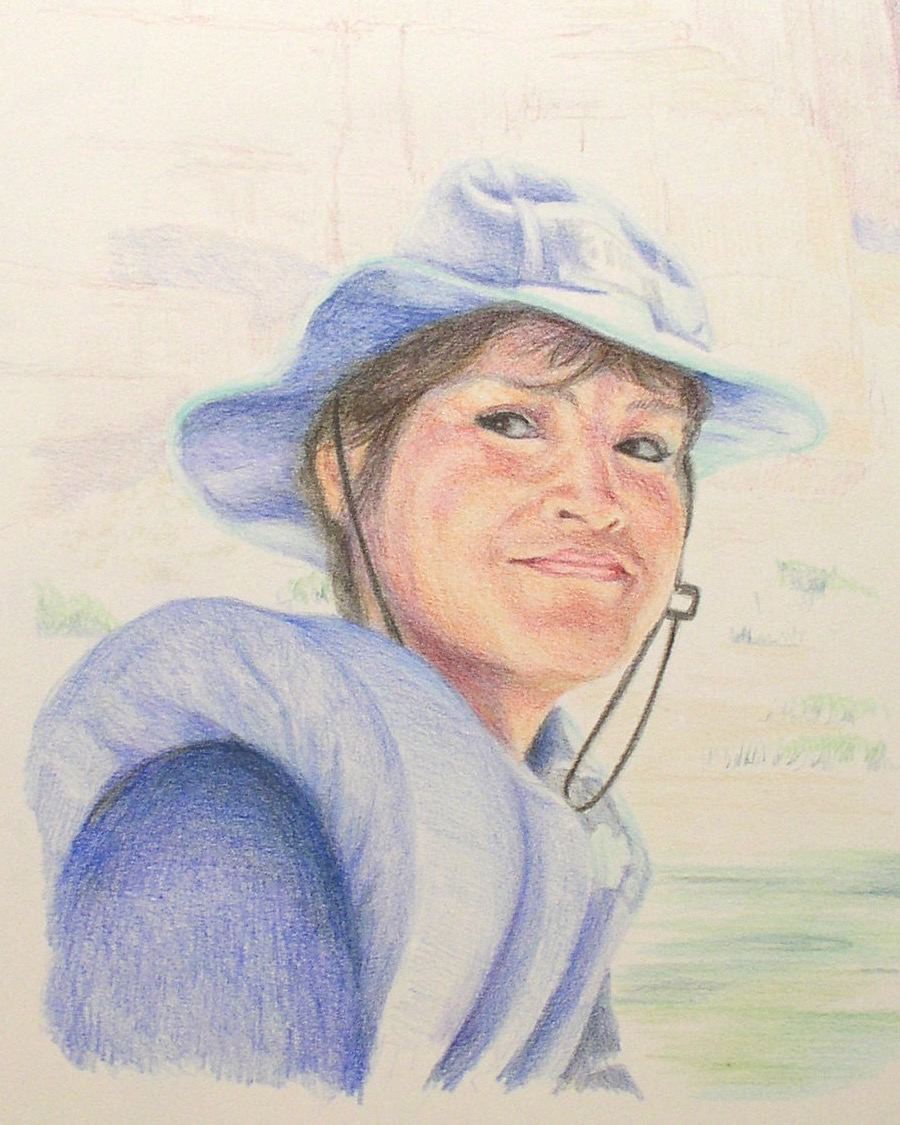 colored pencil drawing of woman with hat and life vest