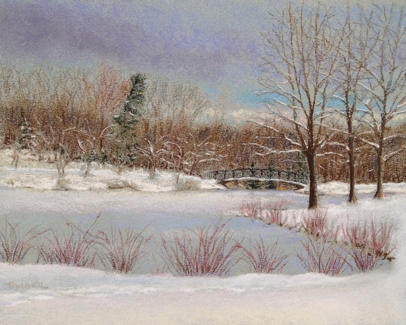 winter scene in pastel of frozen pond and footbridge
