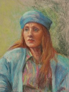 portrait in pastel of red headed woman in turquoise hat and jacket