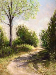 pastel of footpath with trees and shrubs