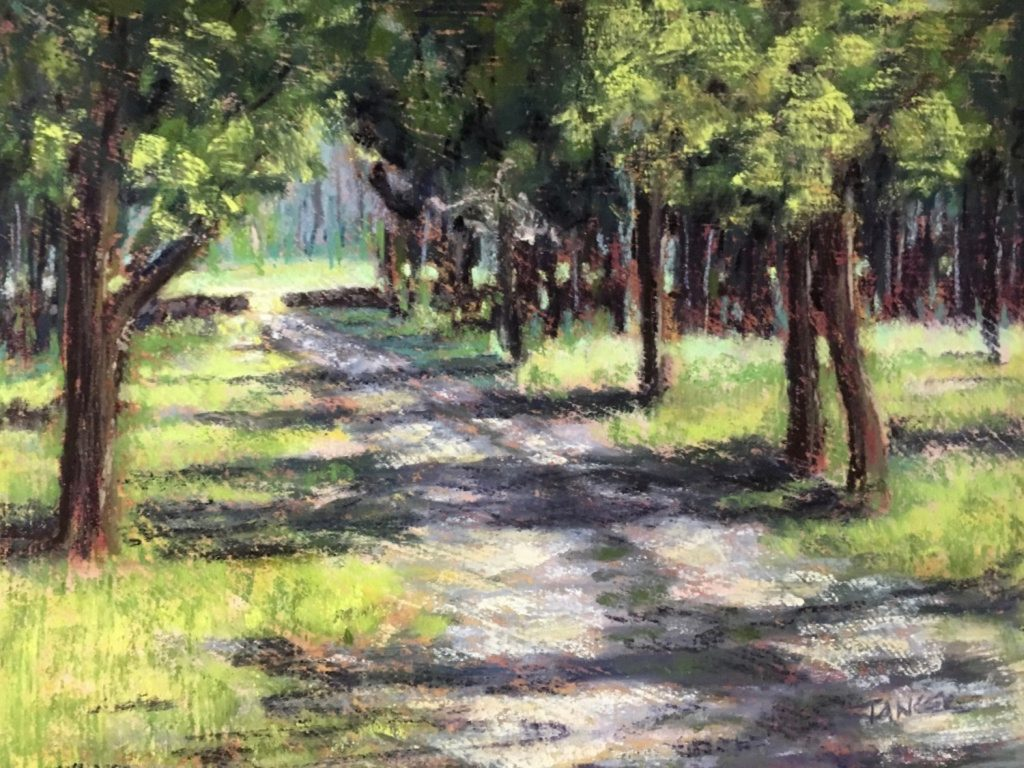 pastel of dirt roadway lined with trees leading to stone wall with meadow beyond
