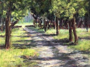 pastel of dirt road leading to a break in a stone wall with meadow beyond