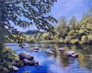 oil painting of trees along cold blue river edge