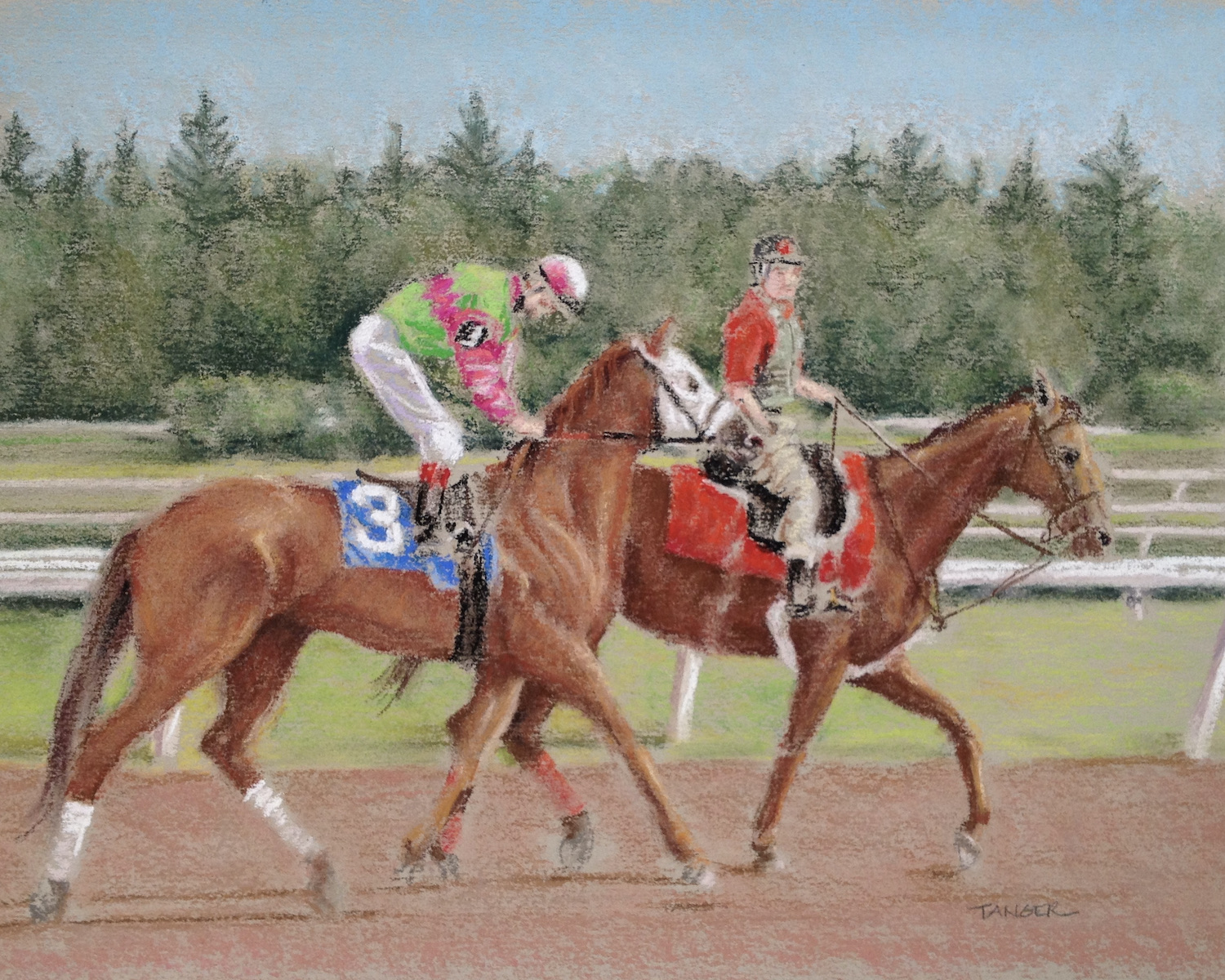 pastel painting of jockey on thoroughbred and outriders on pony after a race