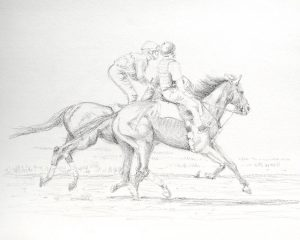 pencil sketch of racehorse and outrider