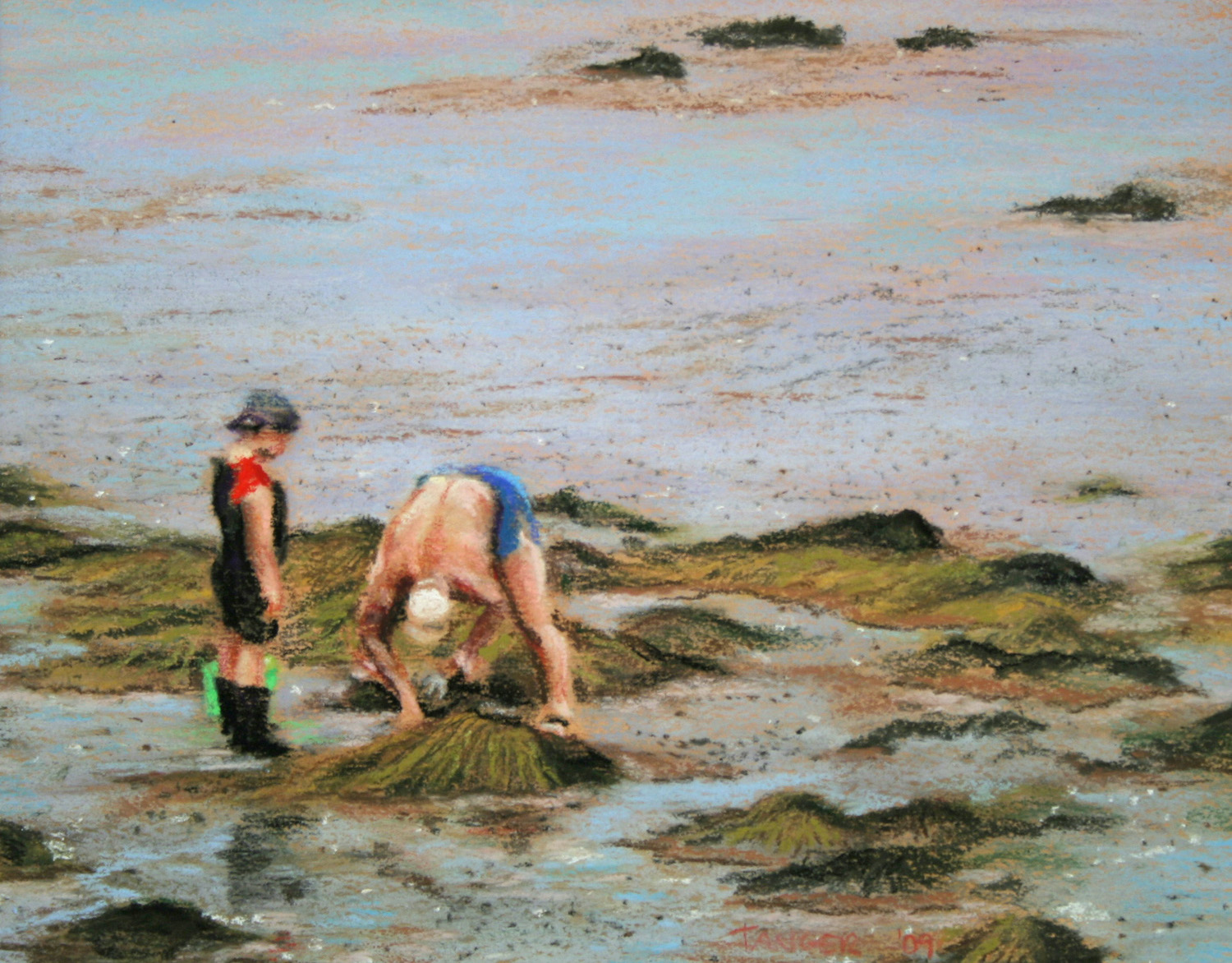 pastel painting of father and son digging for mussels