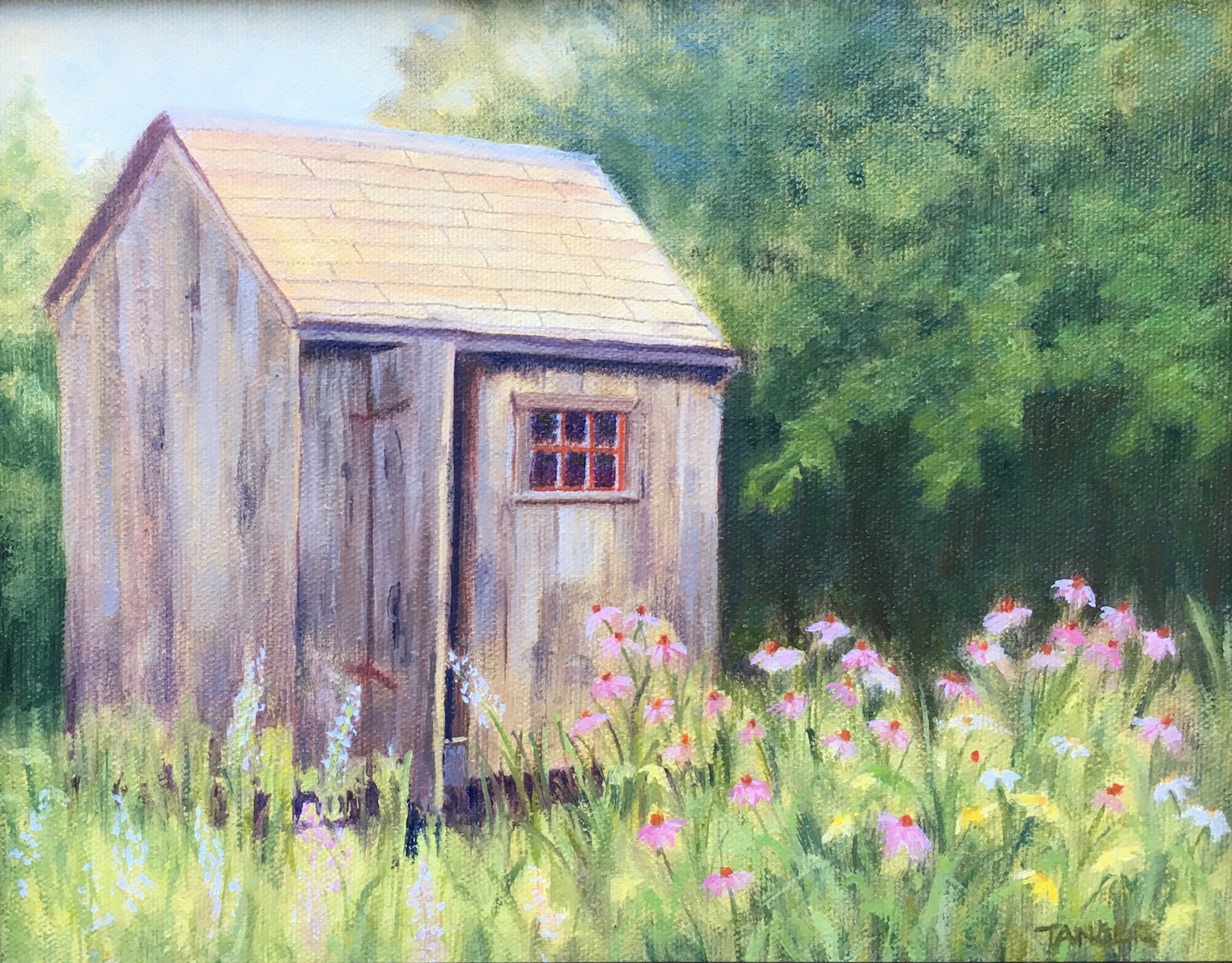 oil painting of a small garden shed with door open