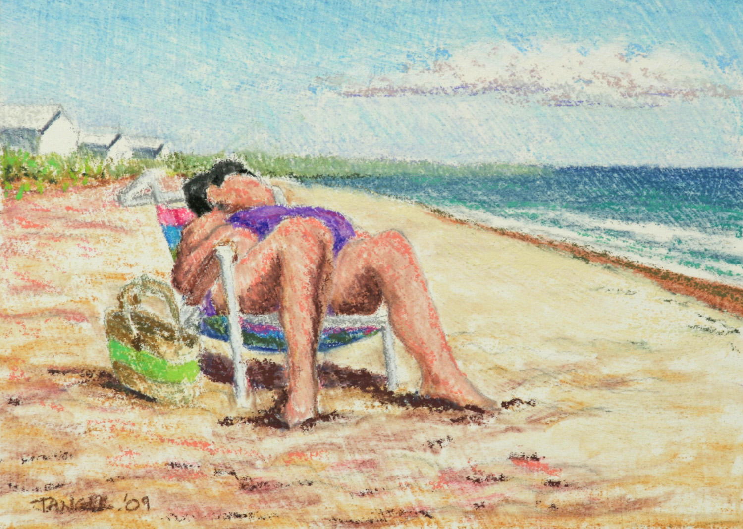 small pastel painting of reclining woman at the beach in a beach chair
