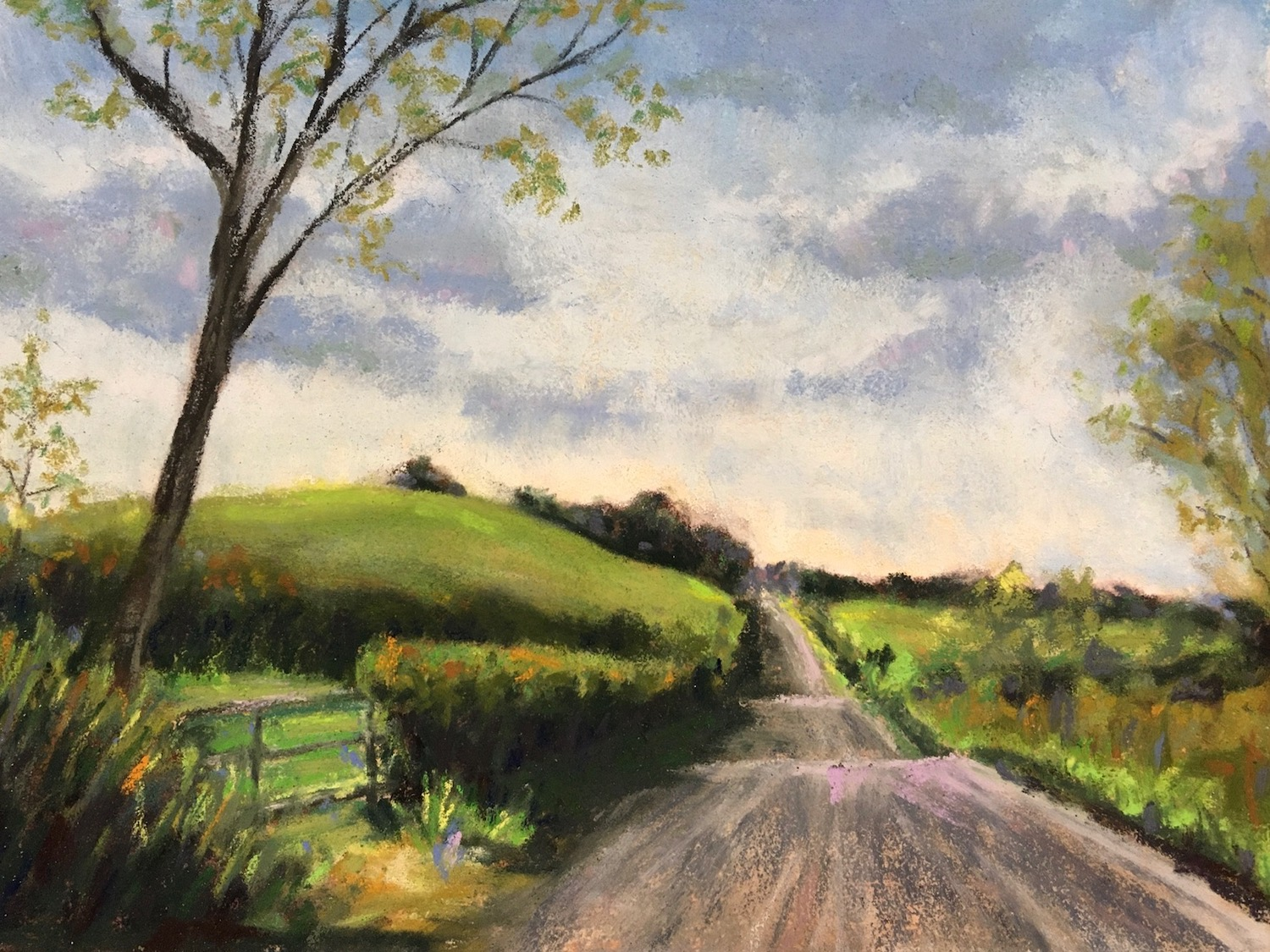 pastel landscape of hilly country road through fields in Ireland